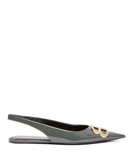Balenciaga Gray Bb Slingback Patent Leather Flats