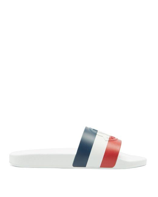 Moncler Blue Basile Striped Rubber Slides for men