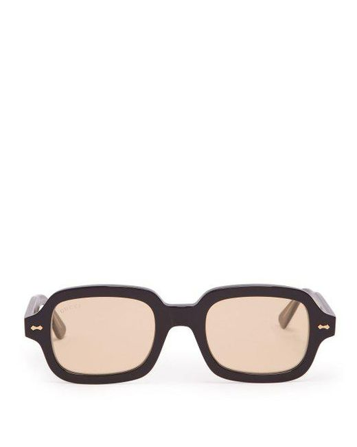 Lyst - Gucci Round Square-frame Acetate Sunglasses in Black for Men