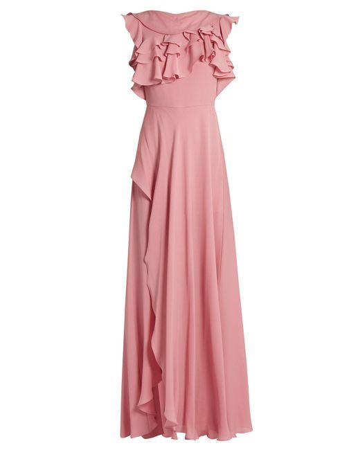 Elie Saab | Pink Ruffled Silk-georgette Gown | Lyst