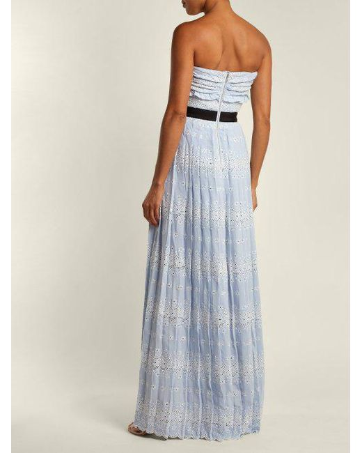 Strapless floral broderie-anglaise maxi dress Self Portrait nMArY7ItX