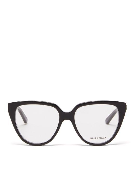 Balenciaga オーバーサイズ キャットアイメガネ Black
