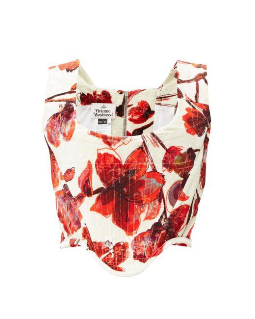 Vivienne Westwood Multicolor Harlet Floral-printed Velvet Corset