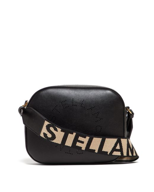 Stella McCartney Black Logo Strap Faux Leather Camera Bag
