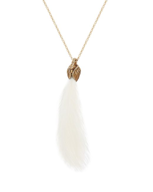 Lanvin - Multicolor Feather Embellished Swan Necklace - Lyst