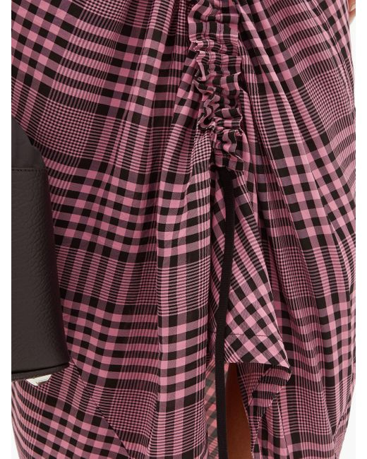 Colville ドローストリングギャザー チェッククレープドレス Multicolor