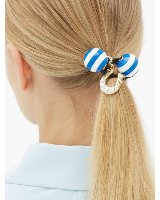 Élastique à cheveux en cristal et fer à cheval Miu Miu en coloris Blue