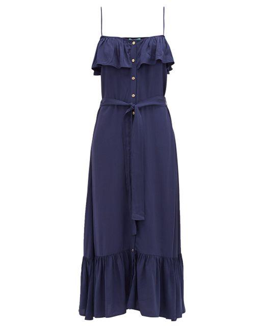 Melissa Odabash カイラ ラッフル ドレス Blue