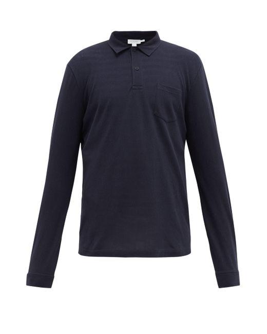 メンズ Sunspel Riviera ロングスリーブ コットンポロシャツ Blue