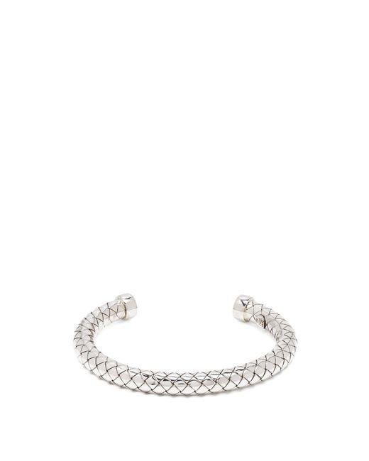 Bottega Veneta | Metallic Intrecciato-engraved Sterling-silver Cuff | Lyst