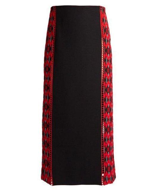 Fendi - Red Lozenges-jacquard Wool And Silk-blend Midi Skirt - Lyst