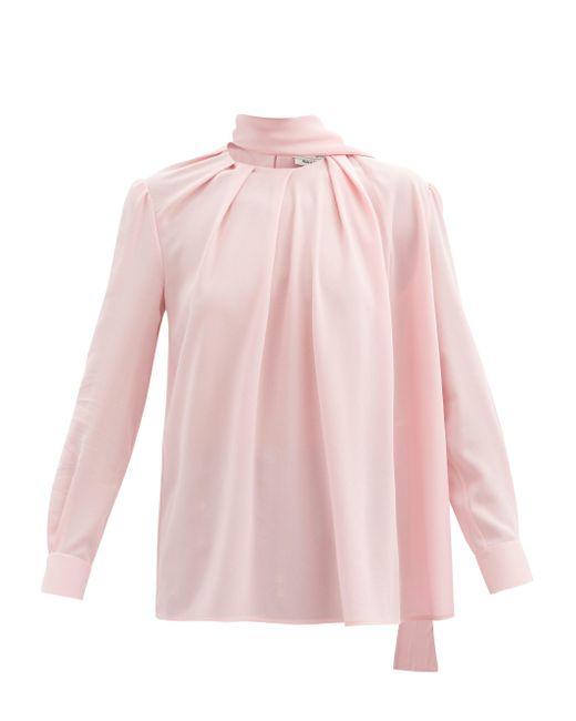 Alexander McQueen スカーフネック シルククレープブラウス Pink