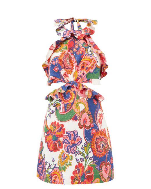 Zimmermann ホルターネック フローラル リネンポプリンミニドレス Multicolor