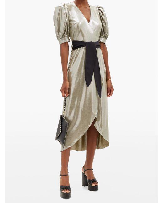 Adriana Degreas バルーンスリーブ メタリックドレス Multicolor