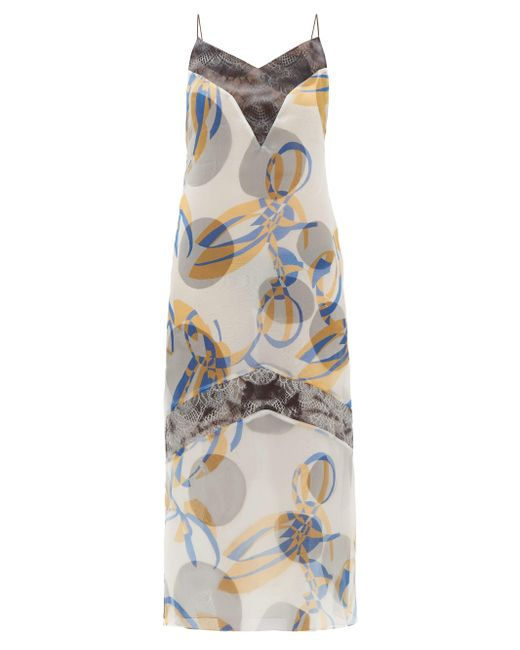 Marina Moscone ジオメトリック ミディドレス Multicolor