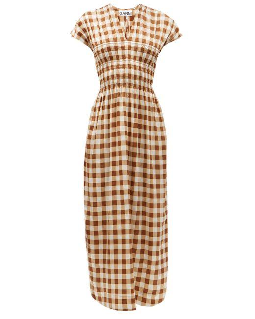 Ganni ギンガムチェック シルクブレンドクレープドレス Multicolor