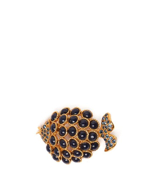 Oscar de la Renta - Blue Stone Embellished Fish Brooch - Lyst