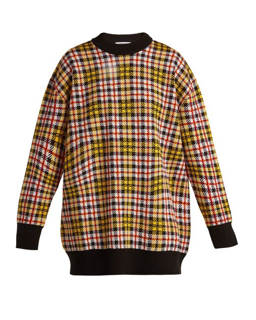 MSGM - Multicolor Checked Wool-blend Sweater - Lyst