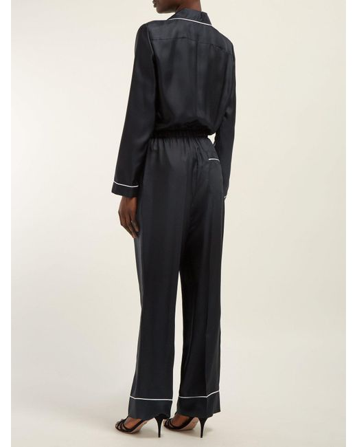 75c7a24f29d ... Prada - Black Logo Patch Silk Satin Jumpsuit - Lyst ...