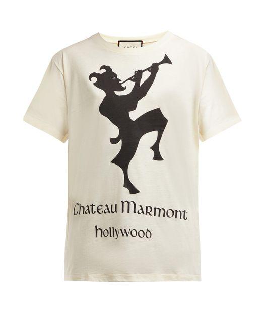Gucci Multicolor Chateau Marmont Print Cotton T Shirt