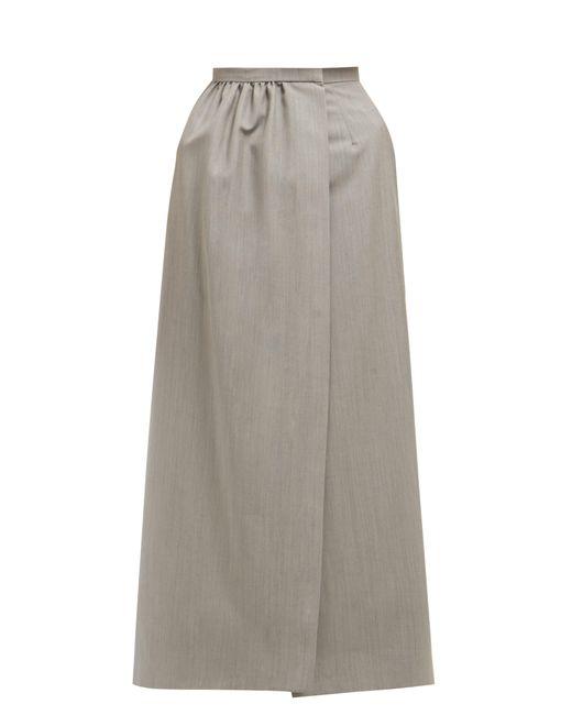 Edward Crutchley Gray Split-front Wool Midi Skirt