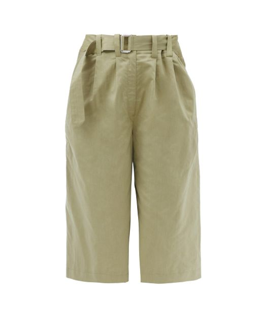 Lemaire Green Belted Cotton-poplin Bermuda Shorts