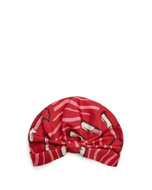 Valentino - Red Lipstick-print Silk-faille Turban Hat - Lyst