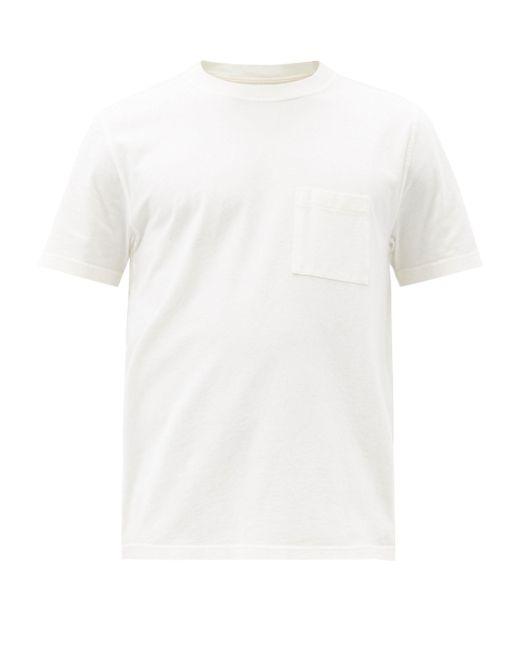 メンズ Albam パッチポケット ピグメントダイ コットンtシャツ White