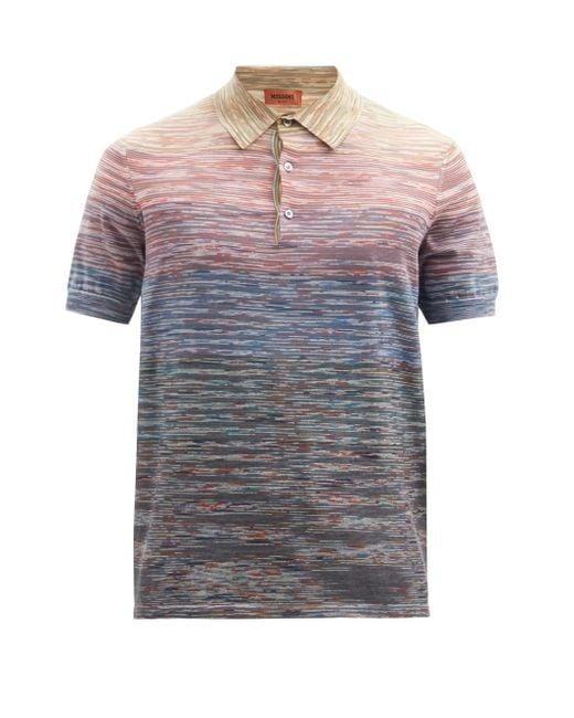 メンズ Missoni グラデーションストライプ コットンポロシャツ Multicolor