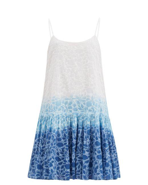 Juliet Dunn シャドー フラワー コットンボイルミニドレス Blue