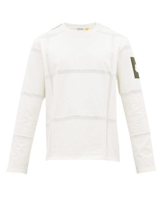 5 MONCLER CRAIG GREEN White Woven Stripes Cotton Long-sleeved T-shirt for men