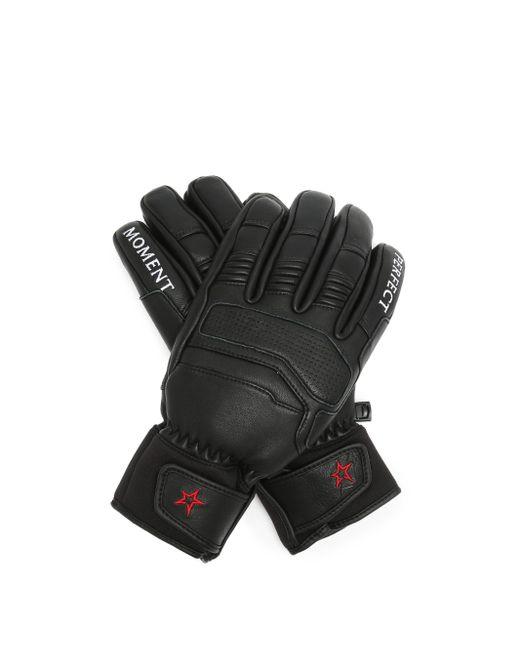 Gants de ski en cuir à broderie logo Perfect Moment en coloris Black