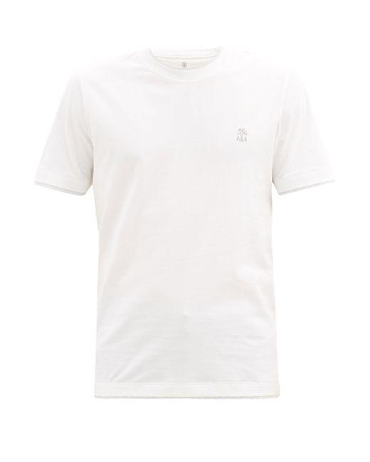 メンズ Brunello Cucinelli ロゴ コットンtシャツ White