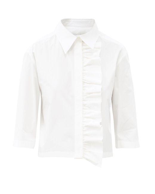 MSGM ラッフル コットンポプリン ショートスリーブシャツ White