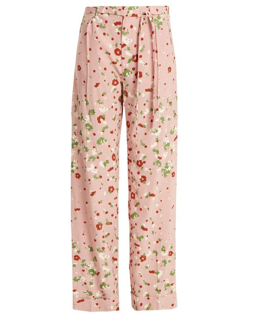 Valentino - Pink Daisy-print Silk Crepe De Chine Trousers - Lyst