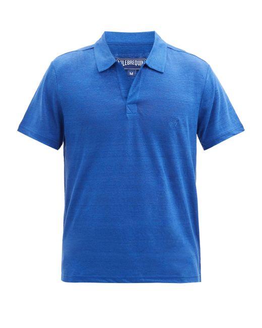 メンズ Vilebrequin ピラミッド リネンポロシャツ Blue