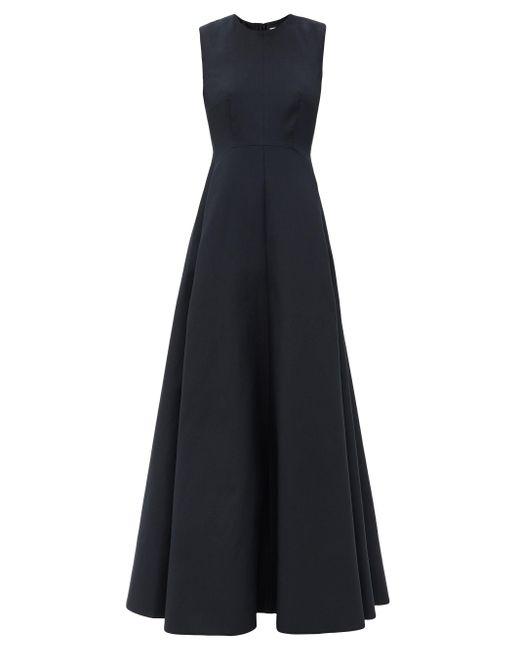 Valentino ノースリーブ コットンシルクツイルドレス Blue