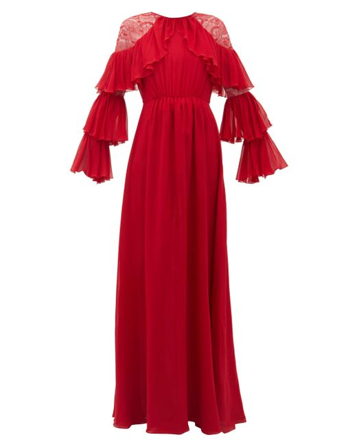 Giambattista Valli ラッフル レーストリム シルクジョーゼットドレス Red