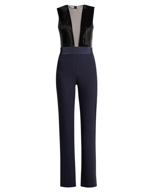 Galvan - Blue Gwyneth Panelled Crepe Jumpsuit - Lyst