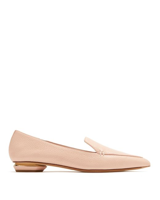 Nicholas Kirkwood - Pink Beya Point-toe Grained-leather Loafers - Lyst