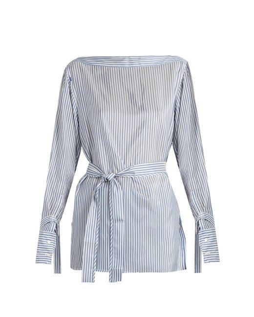 Calvin Klein | Blue Keith Bis Boat-neck Striped Satin Top | Lyst