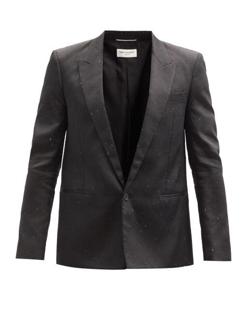 メンズ Saint Laurent スペックルデュピオン シングルスーツジャケット Black