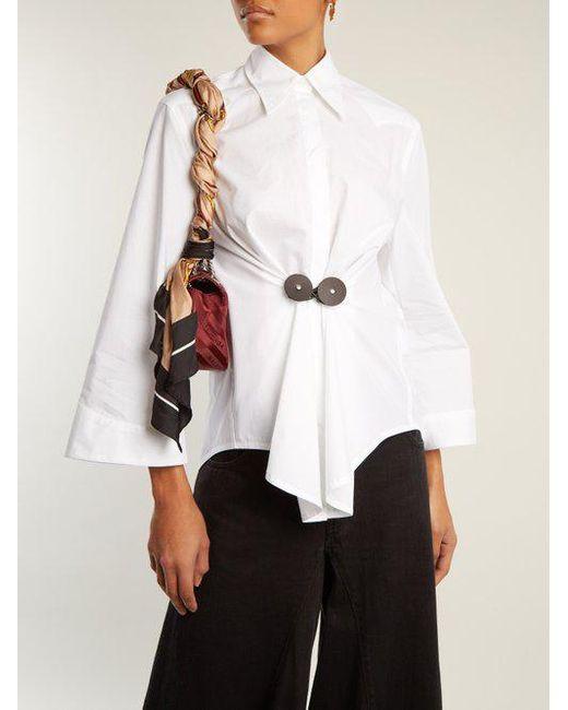 Leather-trimmed cotton-poplin shirt Maison Martin Margiela Buy Cheap Best Seller lHiOcl3O