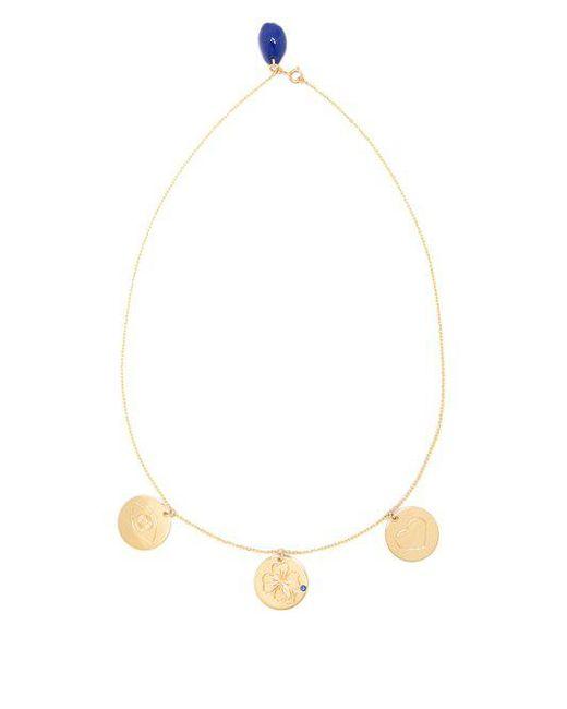 Aurelie Bidermann - Metallic Three-medals Sapphire & Yellow-gold Necklace - Lyst