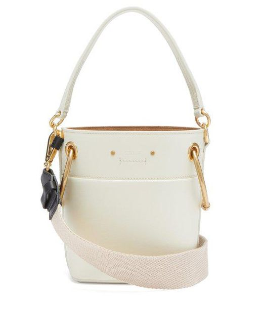 Chloé White roy mini leather bucket bag srY8W