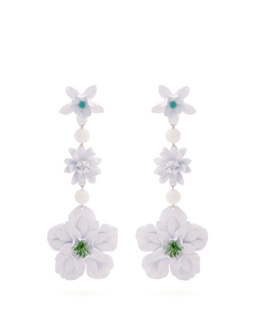 Isabel Marant - White Aloha Flower And Bead Embellished Earrings - Lyst