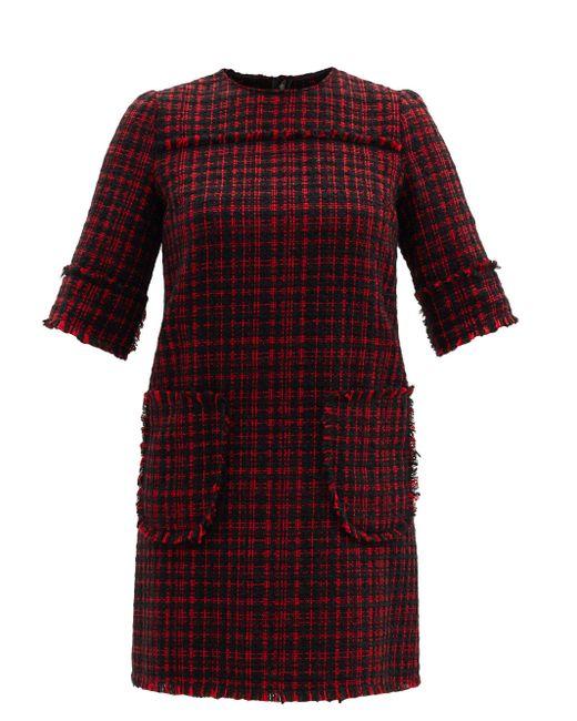Dolce & Gabbana パッチポケット ツイード シフトドレス Red