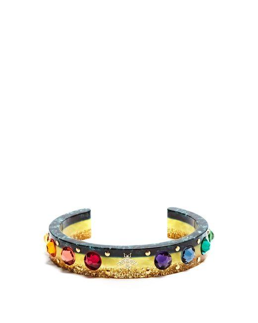 Gucci - Multicolor Web Crystal-embellished Plexiglas Cuff - Lyst