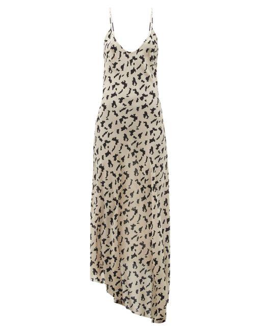 Raey Natural Dip-hem Abstract-print Silk Crepe-de-chine Dress