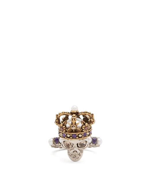 Alexander McQueen   Metallic King Skull Crystal And Pearl-embellished Ring   Lyst